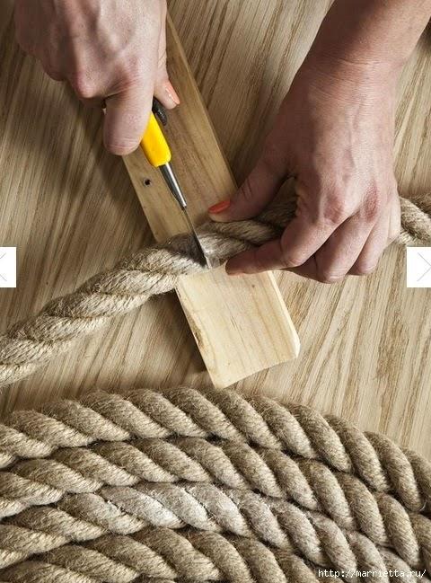 قطع الحبل بعد اكتمال الشكل الدائري لسجاد