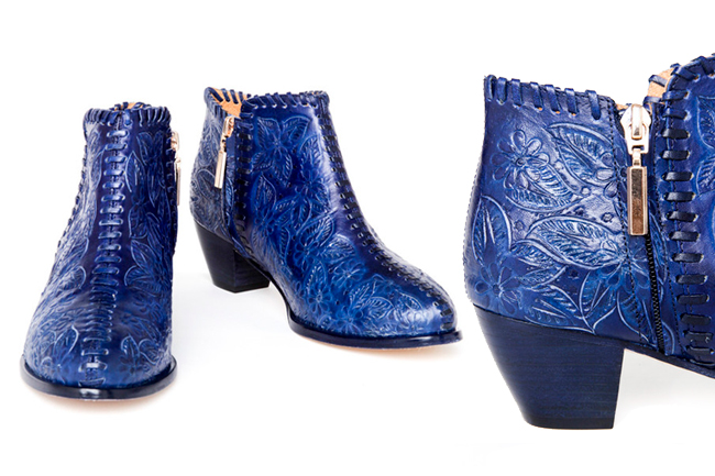 Sara Melissa Designs, hand tooled shoes, blue boots