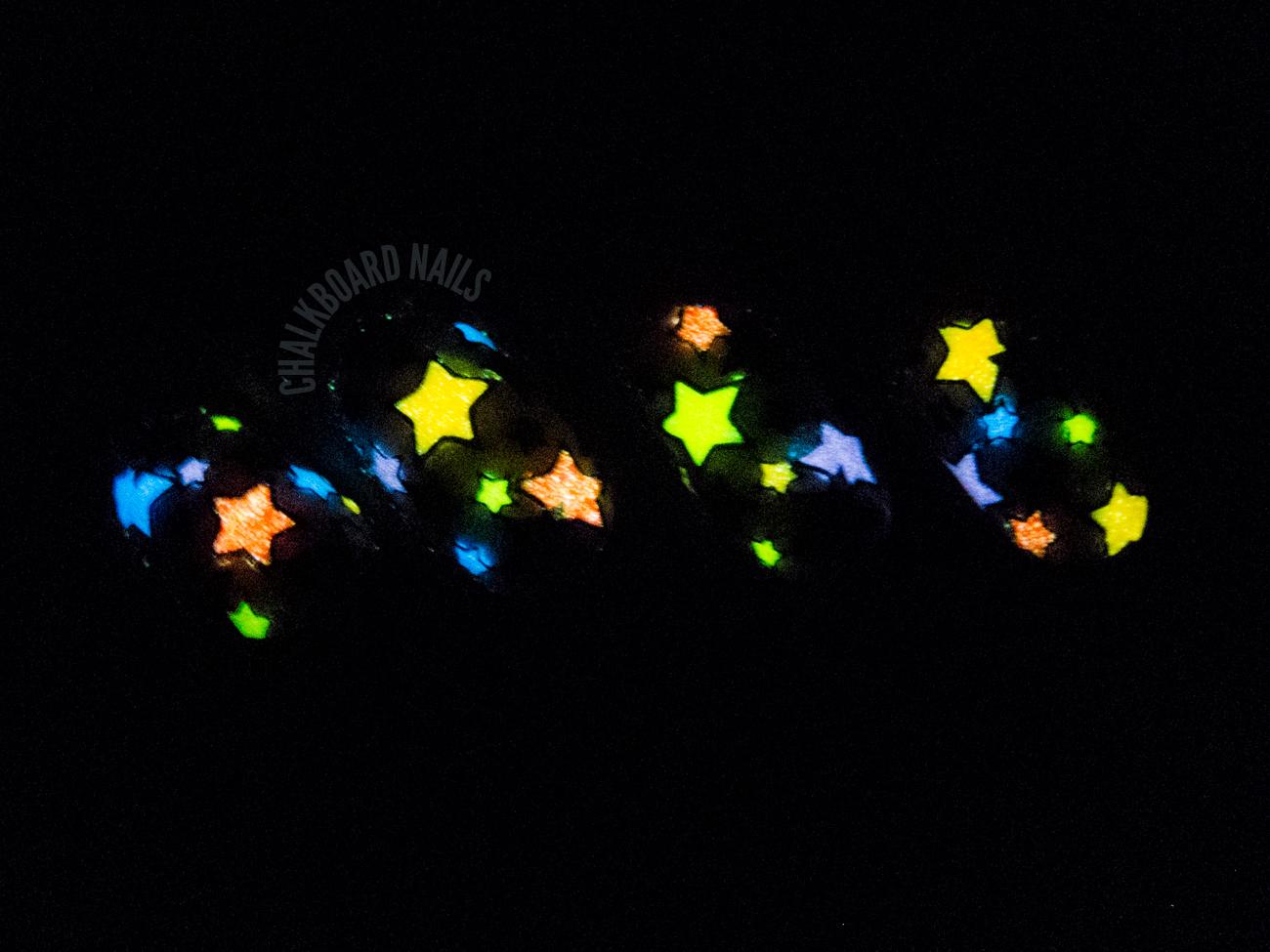 Glow in the Dark Reverse Stamping by @chalkboardnails