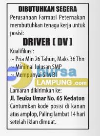 Lowongan Kerja Sopir di Lampung Juni 2014