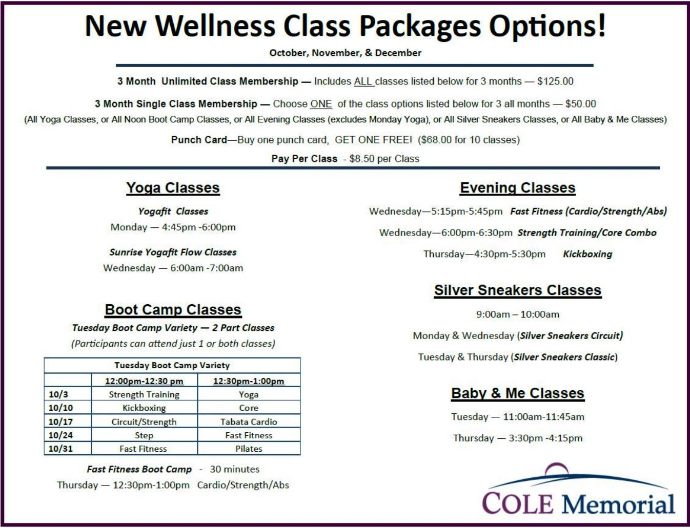 New Wellness Class Package Options