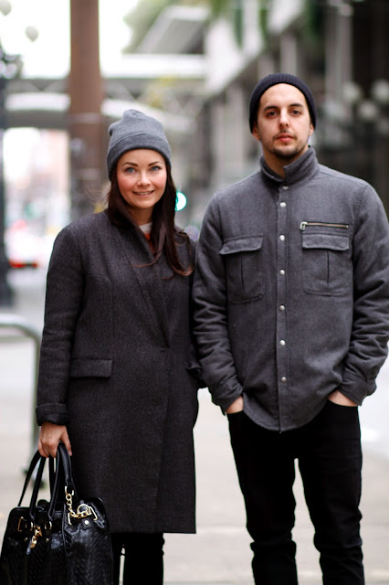 Brooke Roch Bear Roch downtown seattle grey wool coats street style fashion it's my darlin'