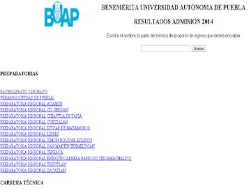 Resultados del examen de admisión a la BUAP 2014