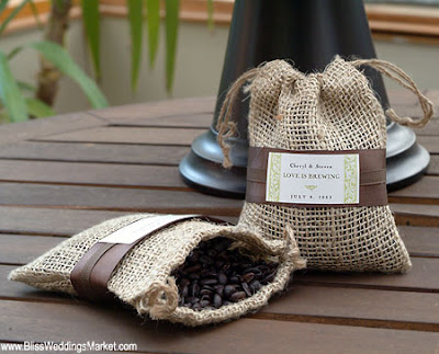 burlap coffee Coffee Inspired Wedding Favors
