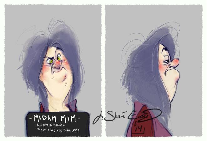 disney villains mugshot madam mim illustration