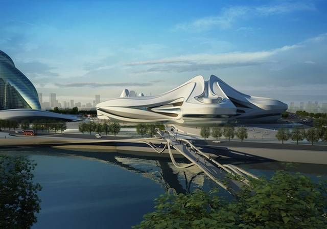 "Zaha Hadid Architects (ZHA) have unveiled an ambitious cultural complex, which began to take shape in October after the project broke ground in the heart of Changsha, China. In true Hadid-fashion, the Changsha Meixihu International Culture & Arts Center defines itself by extreme sinuous curves that radiate from each of the three independent structures and links them to a pedestrianized landscape that offers a ""strong urban experience"", forming what they hope to be a global destination for theater and art."