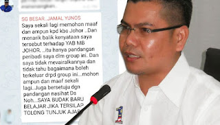Jamal tarik balik kecaman, mohon maaf dengan MB Johor