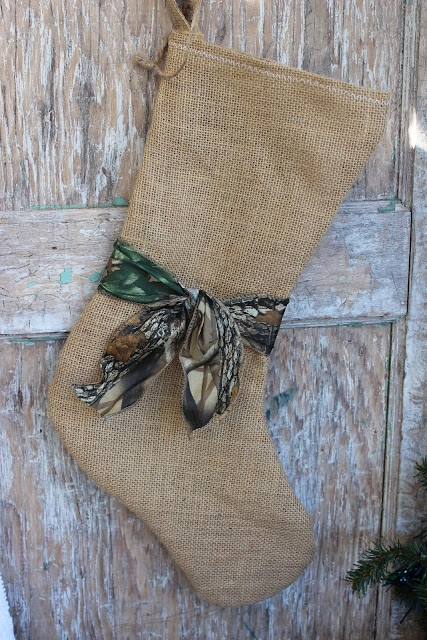 burlap and camo stocking