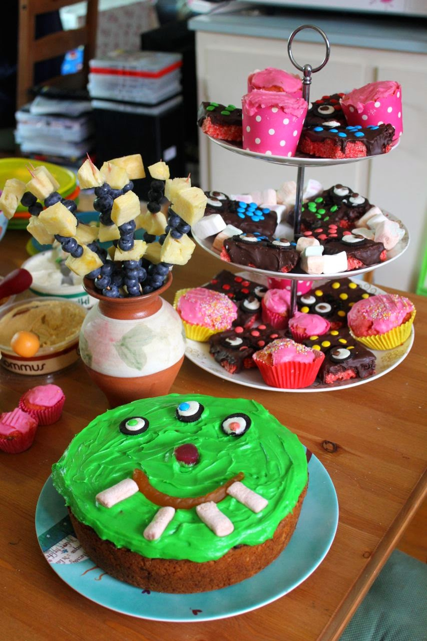 monster cake, monster rice krispies and the red food dye fiasco