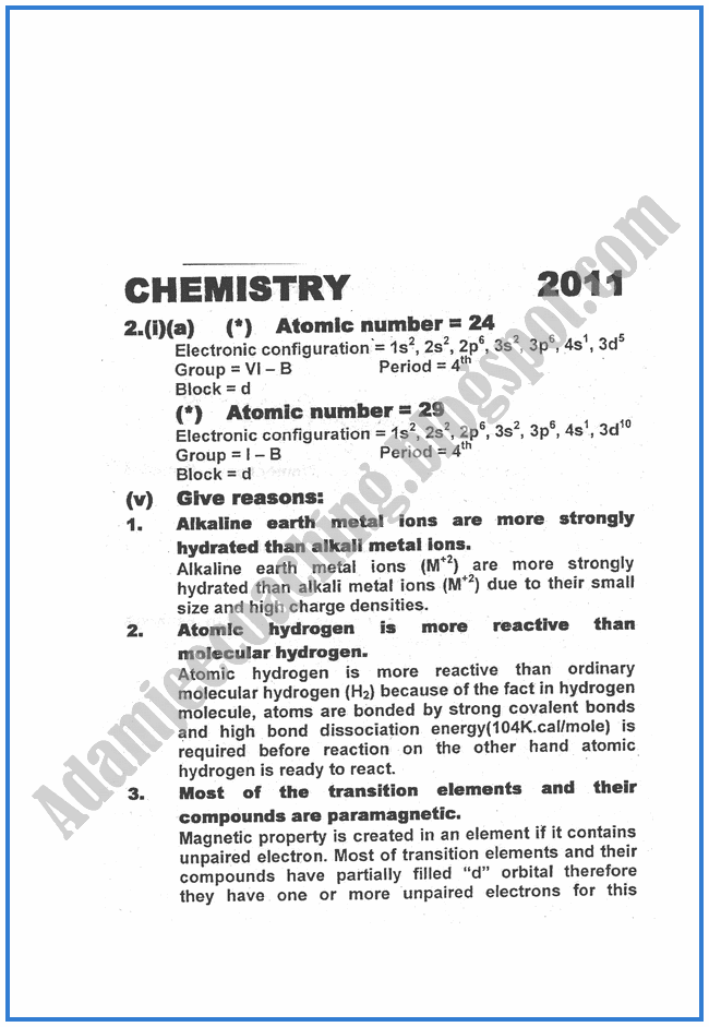 Chemistry-Numericals-Solve-2011-past-year-paper-class-XII