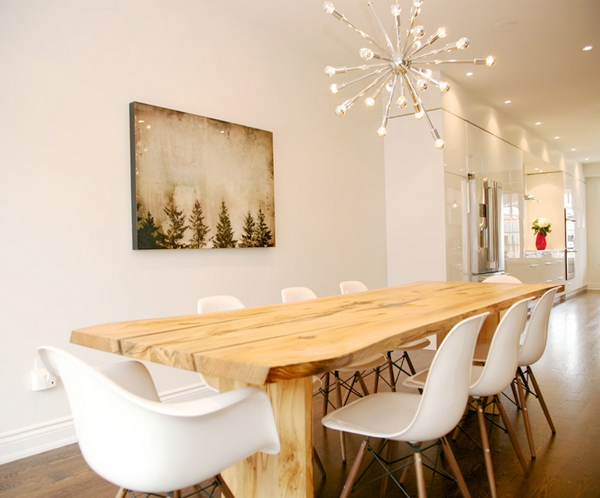 rustic modern dining room // paint color: Benjamin Moore White Dove