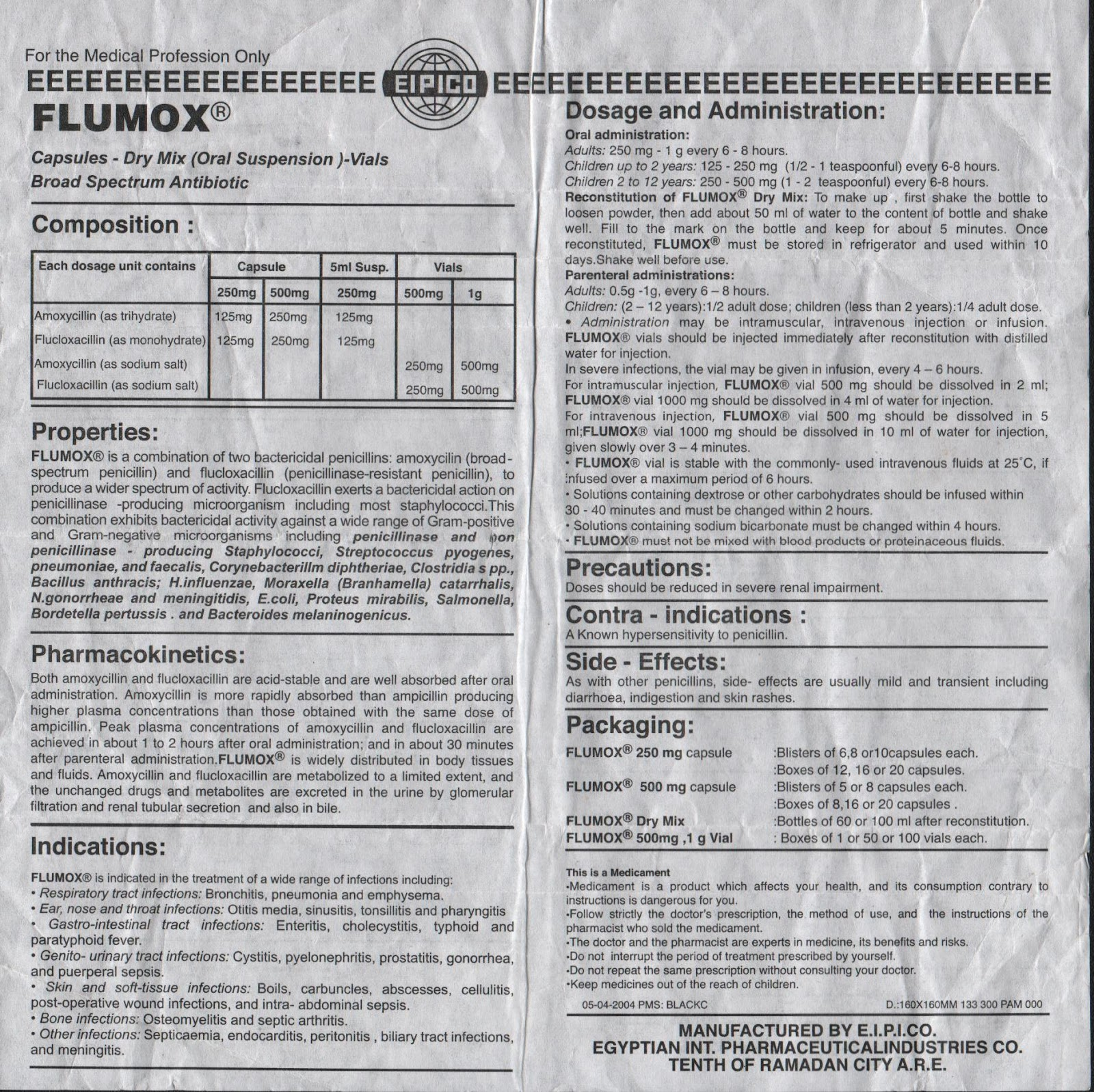 Dosage of flucloxacillin for adults