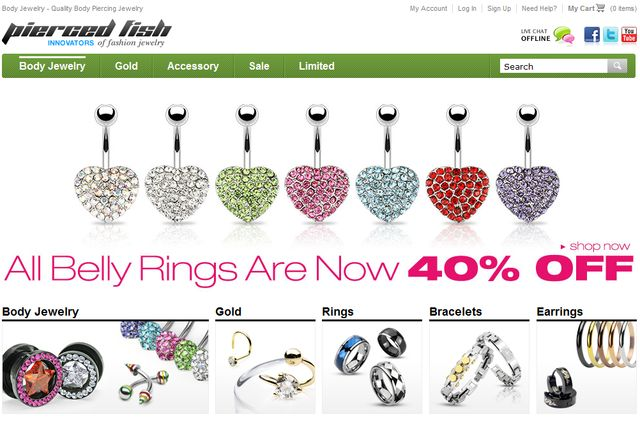 Body Jewelry at Piercedfish.com - Great Gift for Valentine's Day