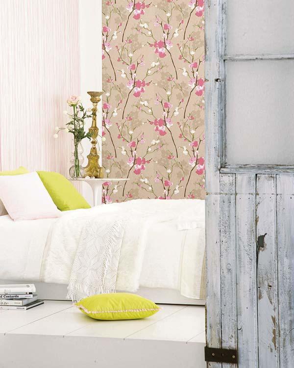 Decorar las paredes con papel pintado y acabados cer micos - Papel pintado decoracion paredes ...