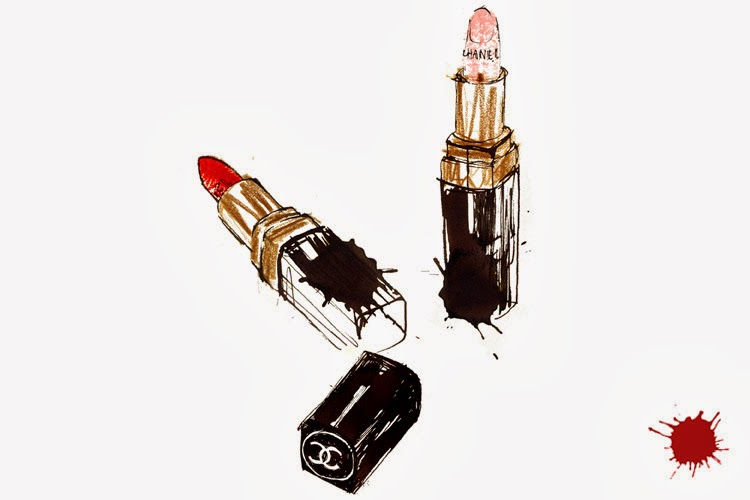 Chanel lipstick beauty illustration by Lovisa Burfitt