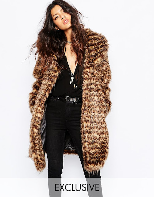 faux london brown fur coat,