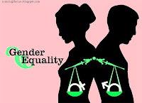 Man and woman weighing scale balance justice discrimination gender equality