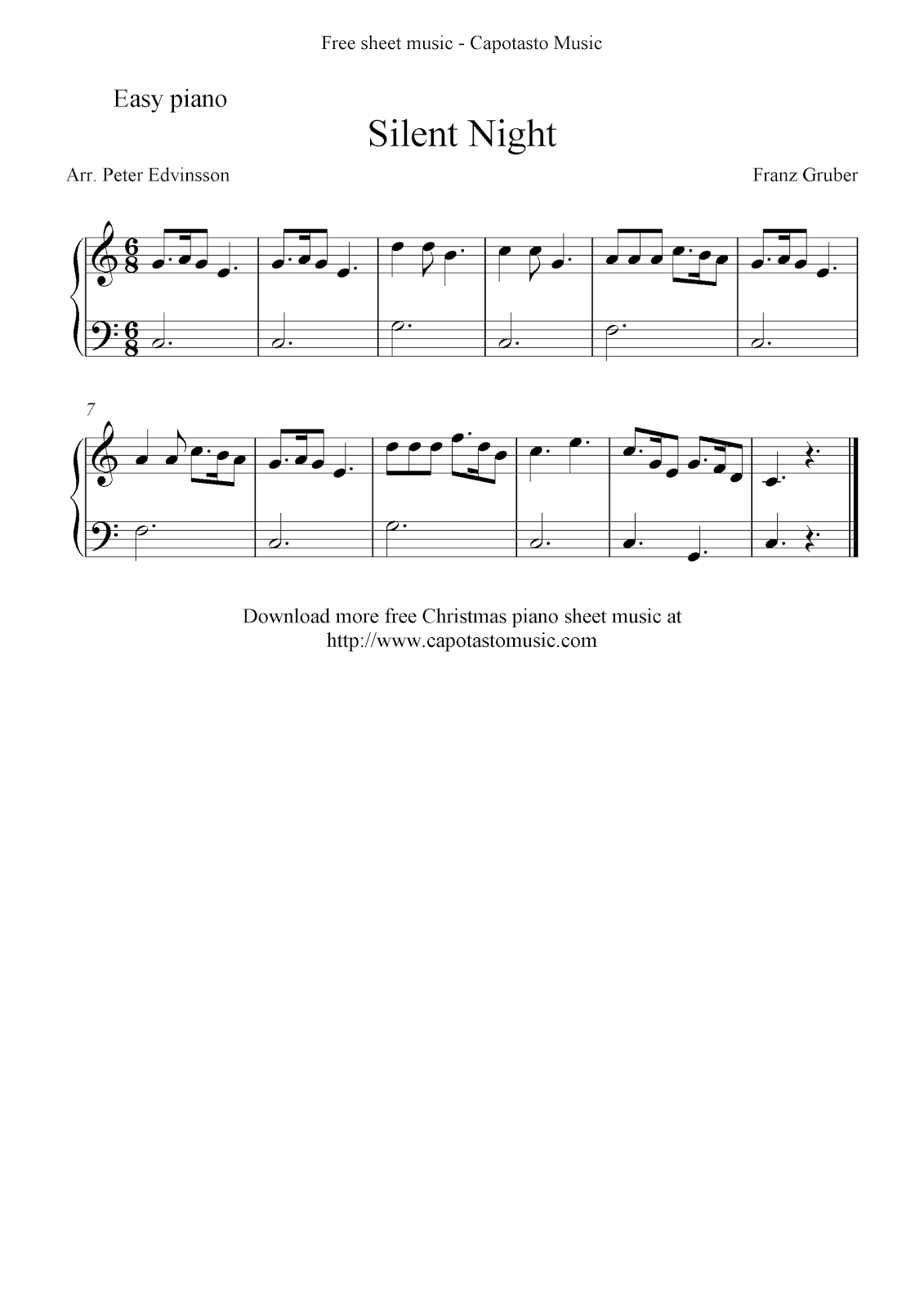 Free easy christmas piano sheet music silent night