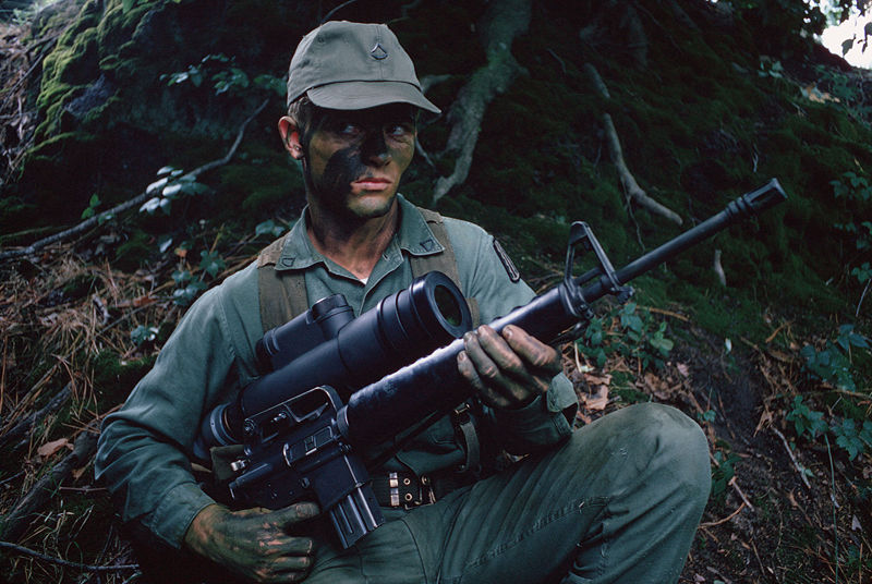 Generation 1 Night Vision Device AN/PVS-2 mounted on M16 assault rifle ...