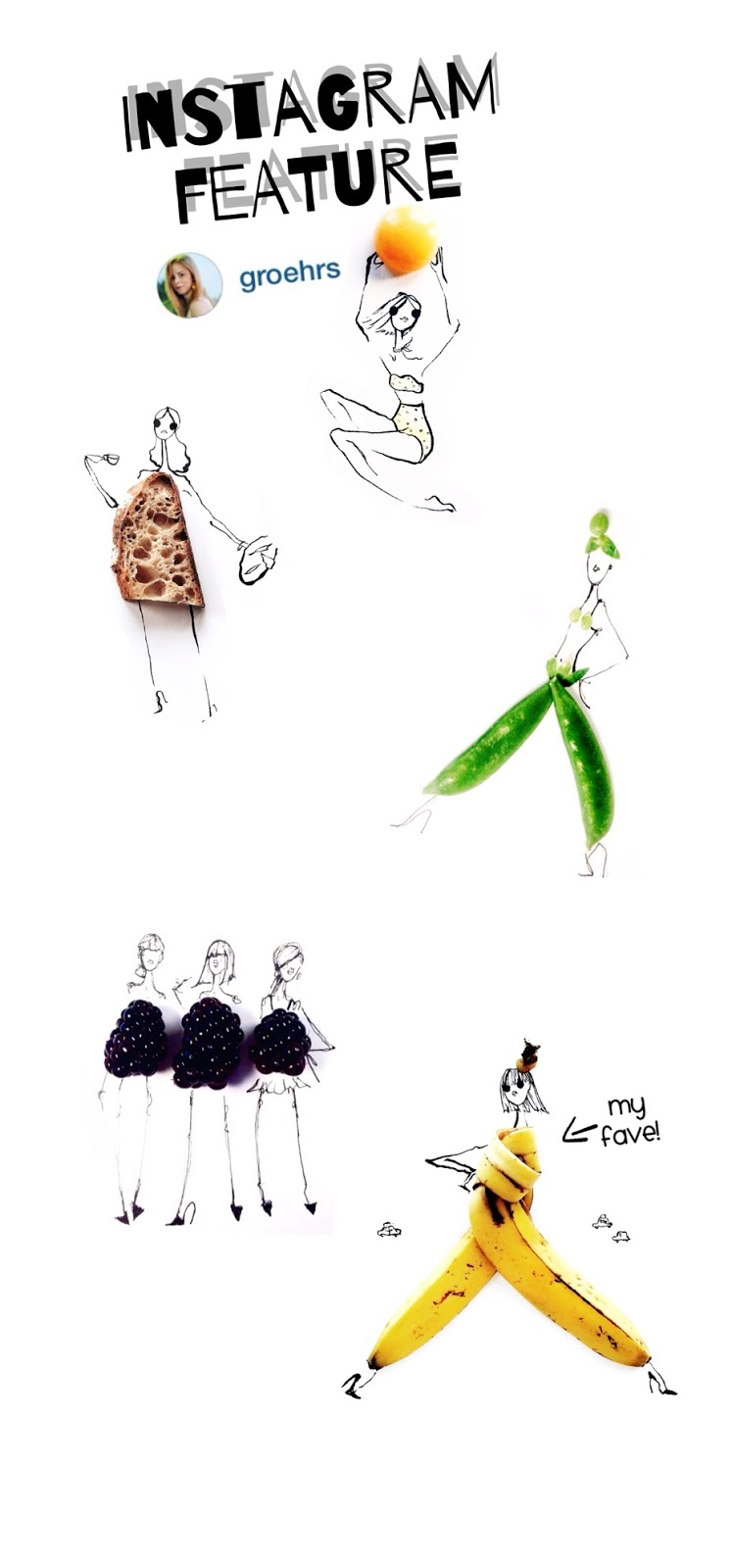 Gretchen Roehrs Instagram illustration of Fruits and Vegetables into fashion