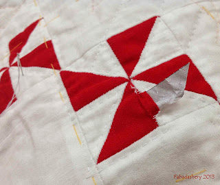 English Paper Piecing red and white pinwheel
