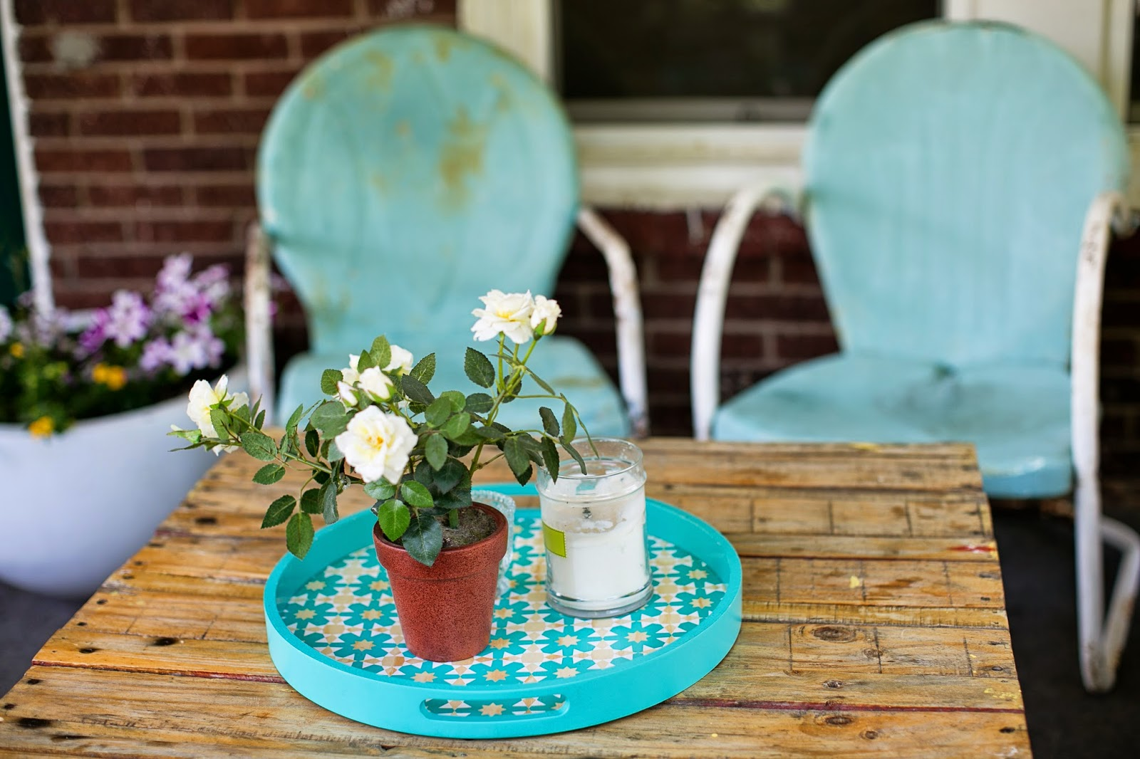 Turquoise tray and chippy vintage chairs