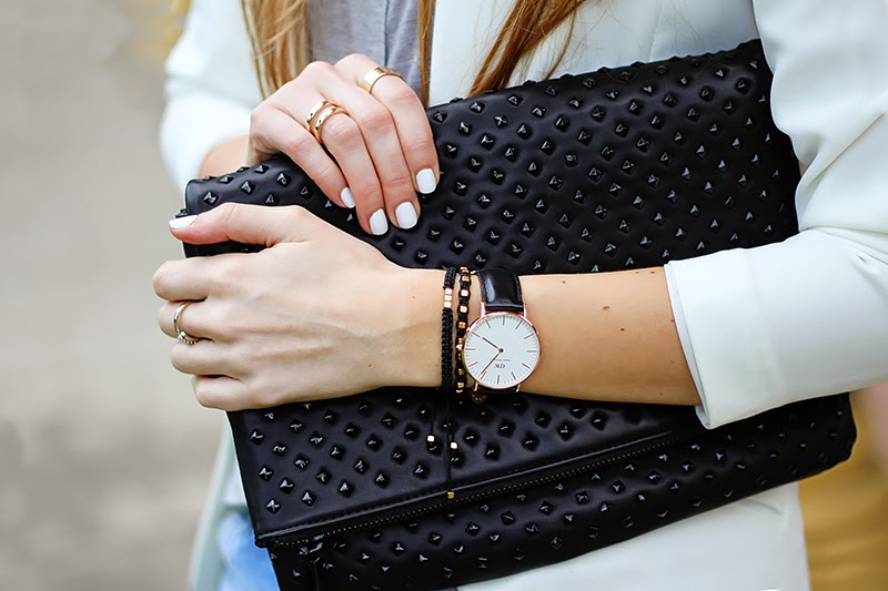 white blazer, studded clutch, Daniel Wellington watch, diy bracelets, black and white