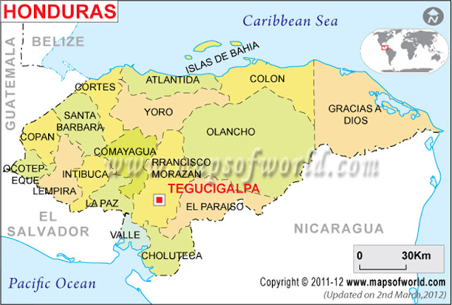 Mapa geográfico de honduras
