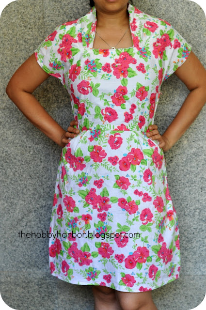 High neck floral dress white made from sewing pattern imagewear image wear pattern kimono sleeve and gathers at neck waisted dress very well fitted