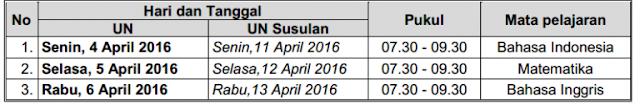 Jadwal UN SMALB 2016