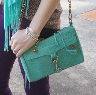 Rebecca Minkoff aquamarine python snake embossed leather mini MAC bag