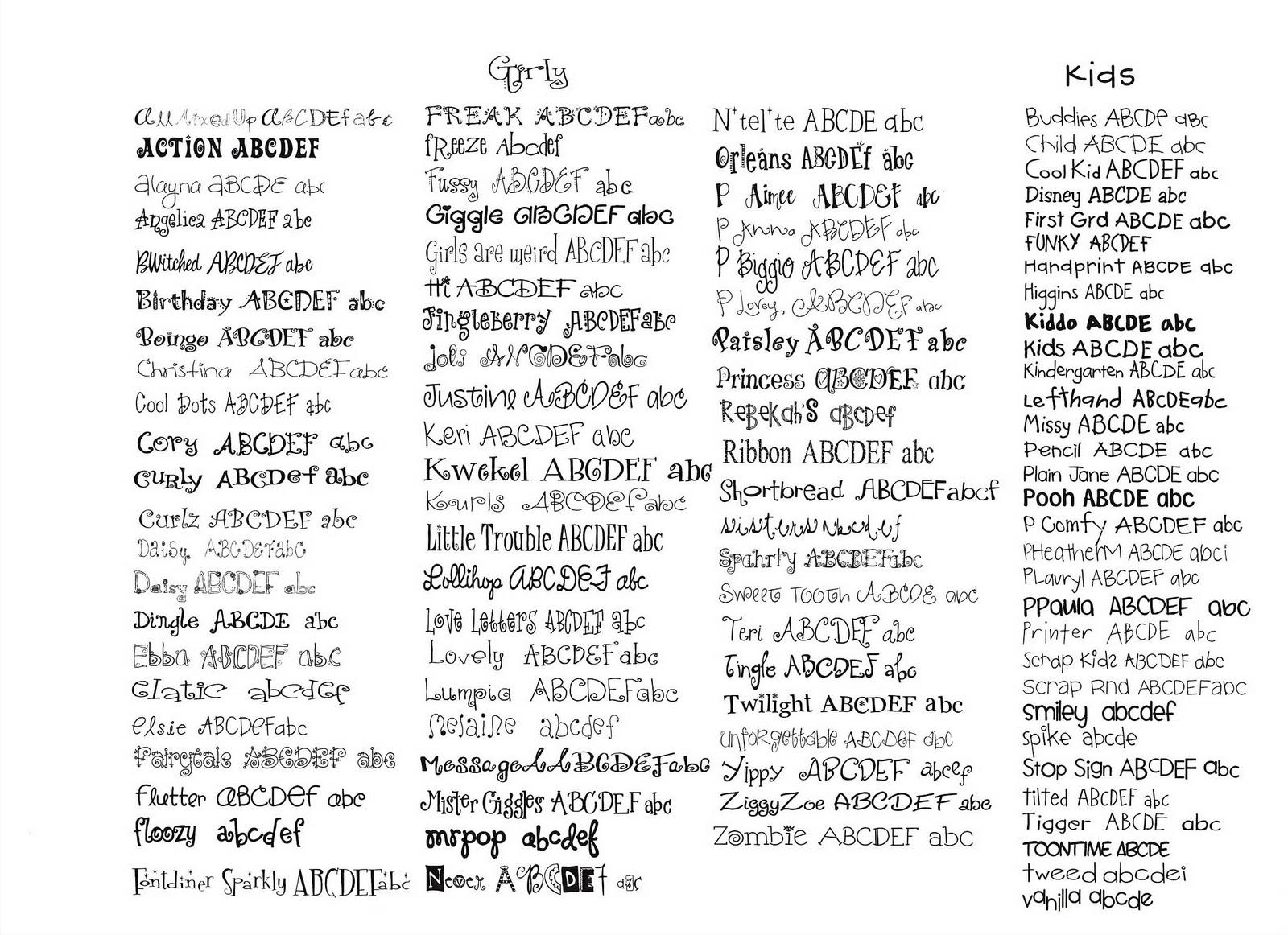 Here are my Girly  amp Fun Fonts  Girly Fonts