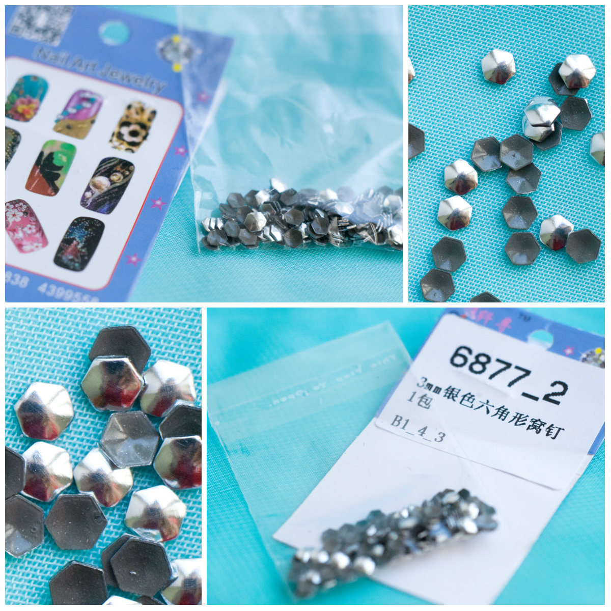 3 mm Hexagon Stud Rhinestone Acrylic UV Gel Nail Art Decoration