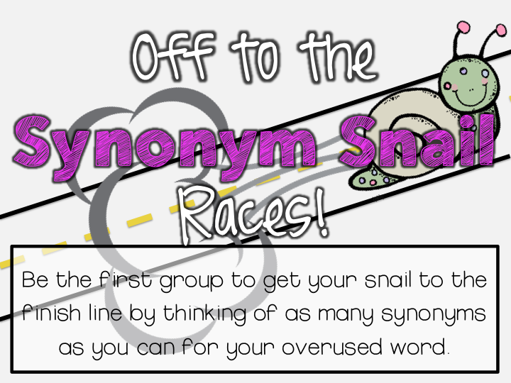 http://www.teacherspayteachers.com/Product/Synonyms-Snail-Races-1497500