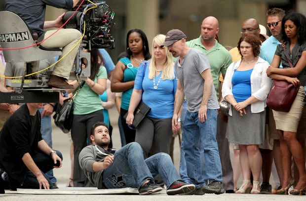 Director Jackie Earle Haley and crew  on the Cleveland set of 'Criminal Activities'