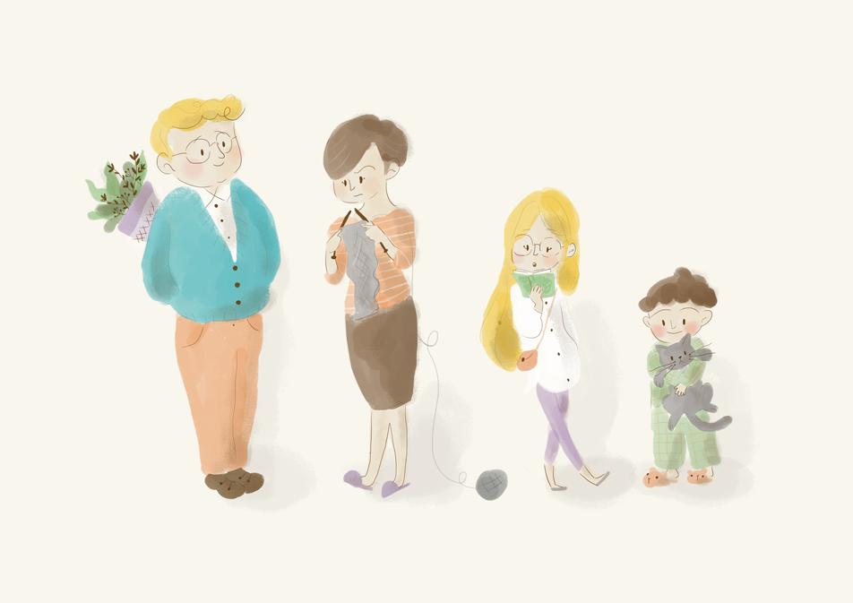 familia, illustration, ilustración, characters