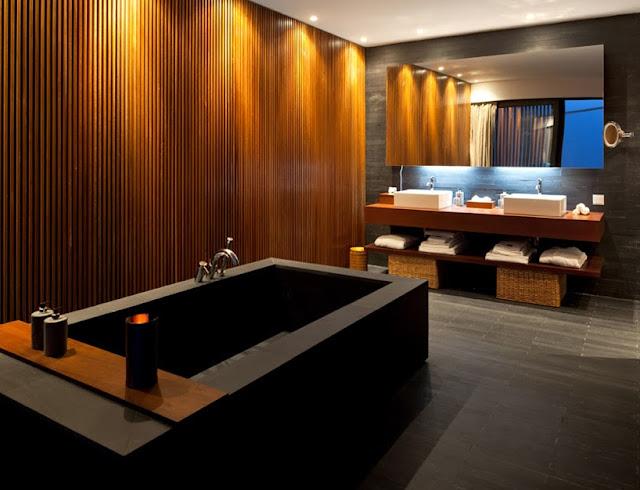 Revestimientos con listones de madera hotel l and - Revestimiento pared madera ...
