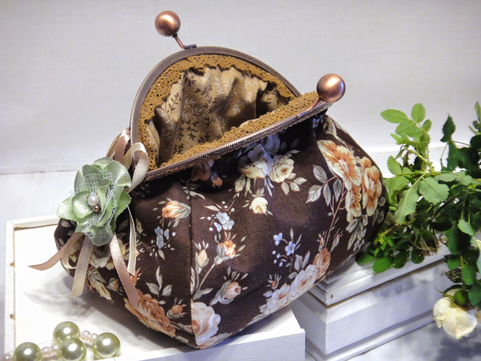 Сумочка для косметики Косметичка с фермуаром Шоколадное шебби