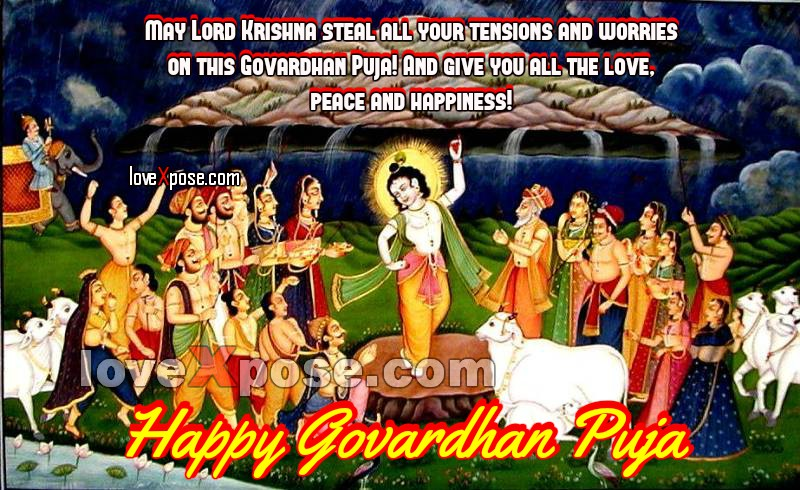 Happy Govardhan Puja wishes sms wallpaper