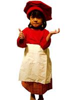 kostum profesi koki warna merah untuk anak