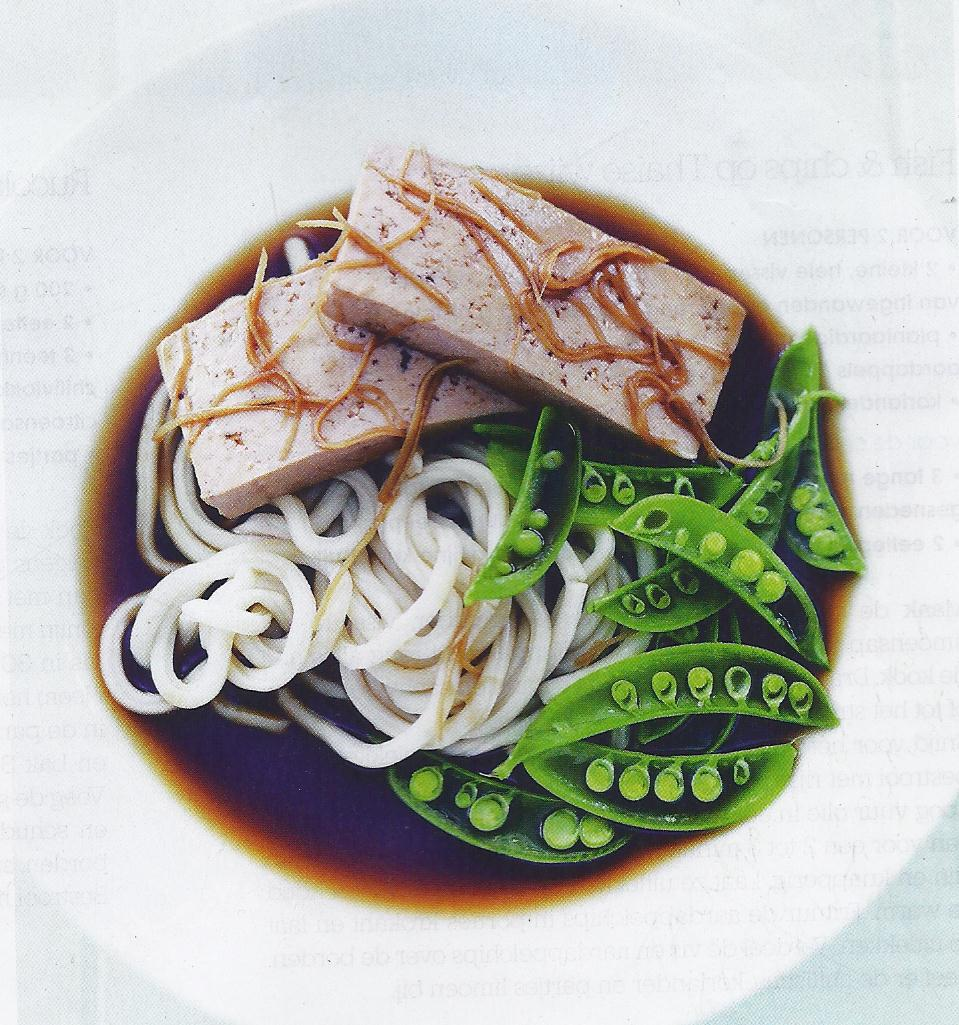 The World of A Vegetarian: TOFU in GINGER poached with NOODLES.