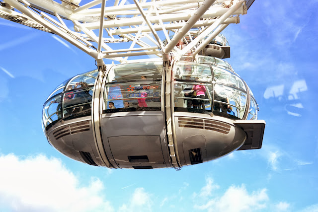 Looking up at a London Eye capsule