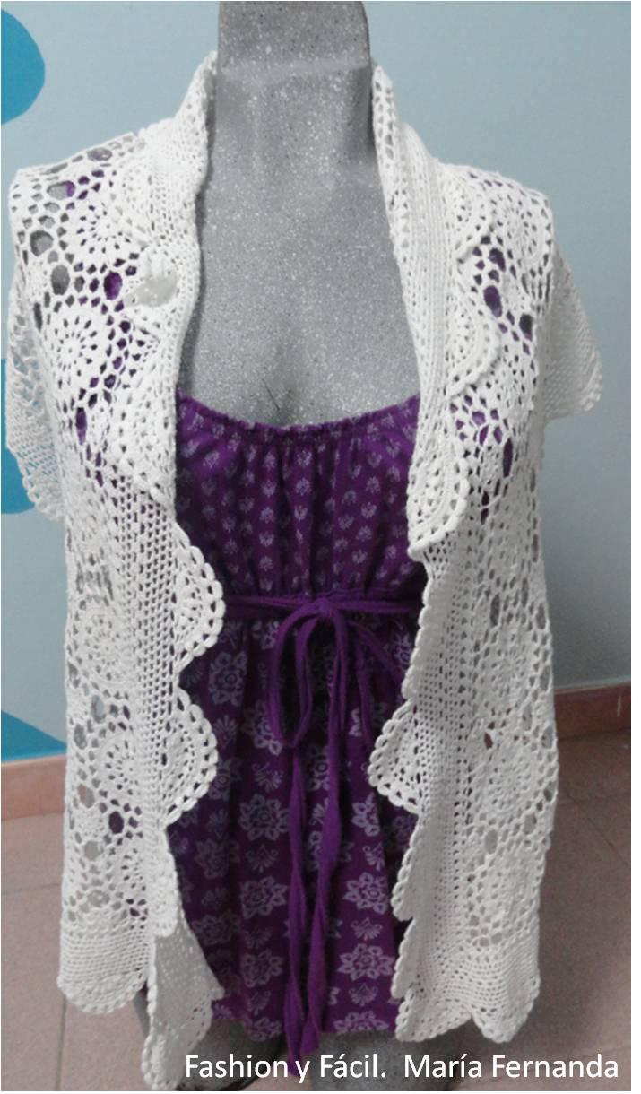 crochet. Cómo hacer un chaleco con un camino de mesa a crochet ...