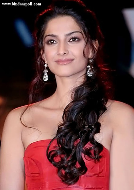 Sonam Kapoor Curly Half Updo Hairstyle