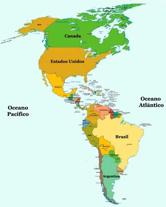 Mapa politico continente americano imagui - Continente y contenido ...