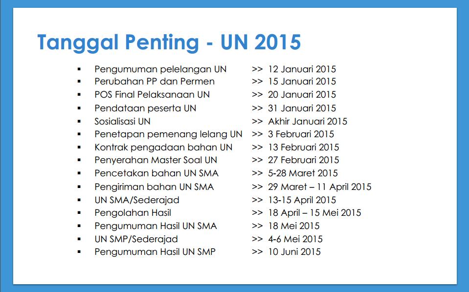 Jadwal Pelaksanaan UN 2015 Tahun 2015 Beserta Jadwal Pengumuman UN ...
