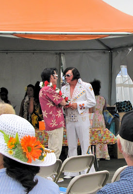 "A couple of ""These other guys are so lame"" Elvii at the Orange County Elvis Festival, Orange County Fairgrounds, Costa Mesa, CA #Elvisfest #Elvis #California www.thebrighterwriter.blogspot.com"