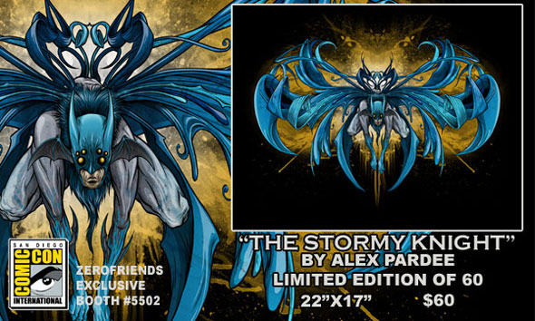 "San Diego Comic-Con 2012 Exclusive Batman Print ""The Stormy Knight"" by Alex Pardee"