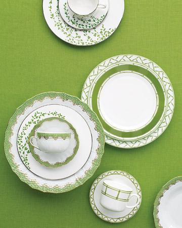 Tazas blancas y verdes boda