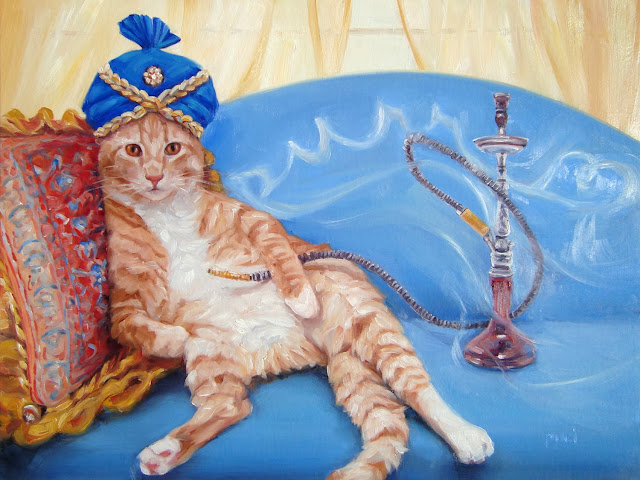 Orange Tabby resting on pillow, hookah behide him with the smoke spelling purr